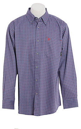 Ariat FR Men's Blue Medallion Print Long Sleeve FR Work Shirt