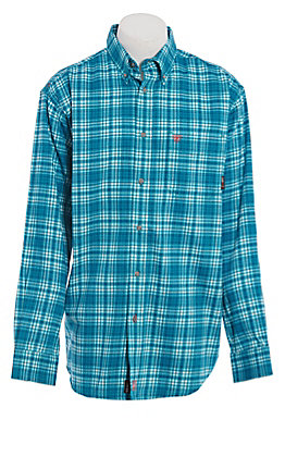 Ariat FR Men's Teal Plaid Long Sleeve FR Work Shirt