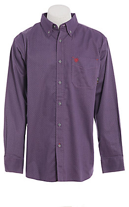 Ariat FR Men's Purple Geo Print Long Sleeve FR Work Shirt