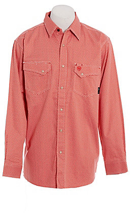 Ariat FR Men's Olmeca Cherry Bark Geo Print Long Sleeve FR Work Shirt