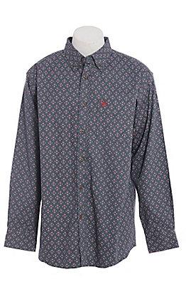 Ariat FR Men's Ombre Blue Aztec Print Long Sleeve Work Shirt