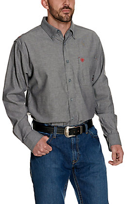Ariat FR Men's Solid Stretch Navy Twill Long Sleeve Work Shirt