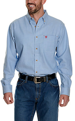Ariat FR Men's Solid Stretch Light Blue Twill Long Sleeve Work Shirt