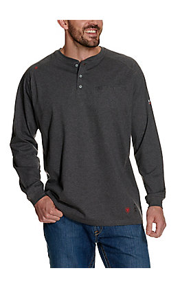 Ariat FR Men's Charcoal Henley Long Sleeve Work Shirt