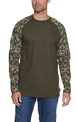 Ariat Men's Sage Green with Digi Camo FR Baseball Long Sleeve T-Shirt