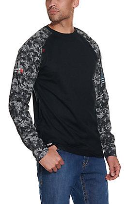 Ariat Men's Black Digi Camo Baseball Long Sleeve FR Work Shirt