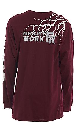 Ariat Men's Maroon Graphic Long Sleeve FR Work Shirt