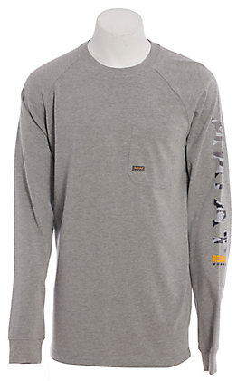 Ariat Rebar Men's Grey Branded Long Sleeve Graphic T-Shirt