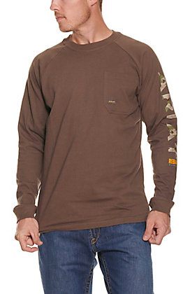 Ariat Rebar Men's Moss Brown Long Sleeve T-Shirt
