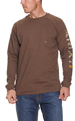 Ariat Rebar Men's Moss Brown Long Sleeve T-Shirt