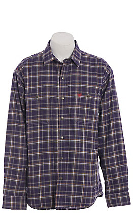 Ariat FR Monument Men's Navy Plaid Fleece Lined Shirt Jacket