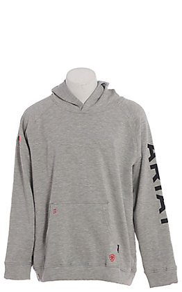 Ariat Men's Heather Grey 12 OZ CAT 2 Fire Resistant Fleece Logo Hoodie Pullover