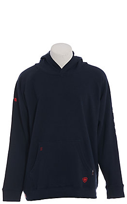 Ariat Men's Navy 12 OZ CAT 2 Fire Resistant Fleece Logo Hoodie Pullover
