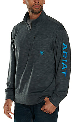 Ariat Men's Charcoal Logo 1/4 Zip Softshell Pullover