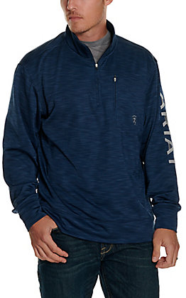 Ariat Men's Indigo Logo 1/4 Zip Pullover