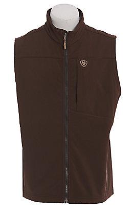 Ariat Men's Dark Brown & Camo Logo Softshell Vest