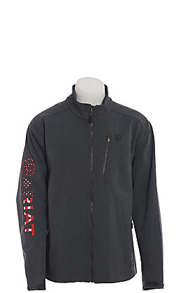 Ariat Cavender's Exclusive Men's Charcoal With American Logo Shoftshell Jacket