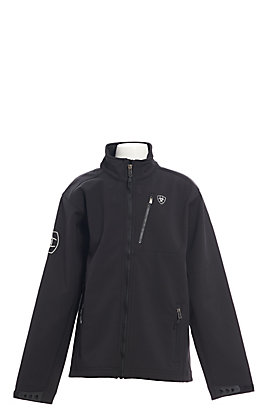 Ariat Youth Black with Grey Logo Team Softshell Jacket - Cavender's Exclusive