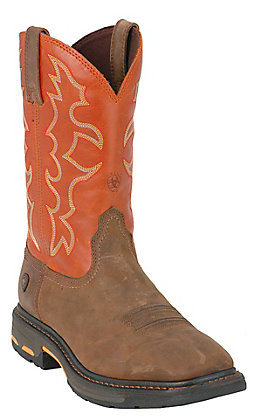 Ariat Men's WorkHog Earth Brown and Brick Orange Wide Square Toe Work Boot