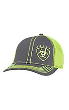 Ariat Youth Charcoal with Lime Embroidered Logo and Lime Mesh Snap Back Cap