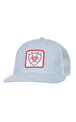 Ariat Light Blue and White with Red White and Blue Patch Logo Snap Back Cap