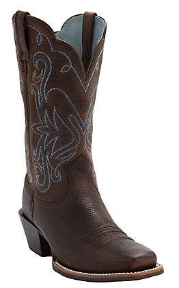 Ariat Women's Rowdy Legend Oiled Brown Square Toe Western Boots