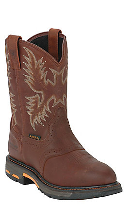 Ariat WorkHog Men's Dark Copper Waterproof Round Composite Toe Work Boots