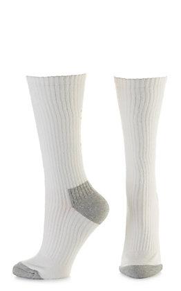 Ariat Men's White and Grey Mid Calf 3Pk Boot Socks (Large)
