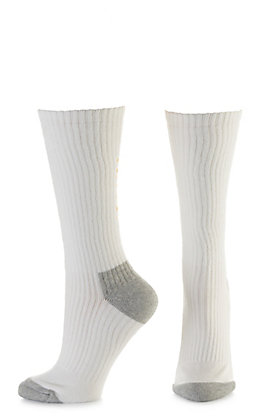Ariat Men's White and Grey Mid Calf 3Pk Boot Socks (X-Large)
