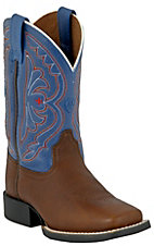 Ariat Children's Quickdraw Brown Oiled Rowdy w/ Royal Top Wide Square Toe Boots