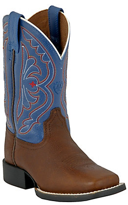 Ariat Kids' Quickdraw Brown Oiled Rowdy with Royal Top Wide Square Toe Boots