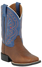 Ariat Youth Quickdraw Brown Oiled Rowdy w/Royal Top Wide Square Toe Boot