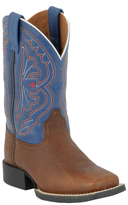 665a4856126 Ariat Youth Quickdraw Brown Oiled Rowdy with Royal Top Wide Square Toe Boot