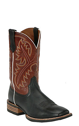 Ariat Quickdraw Men's Black Deertan & Washed Adobe Wide Square Toe Western Boots