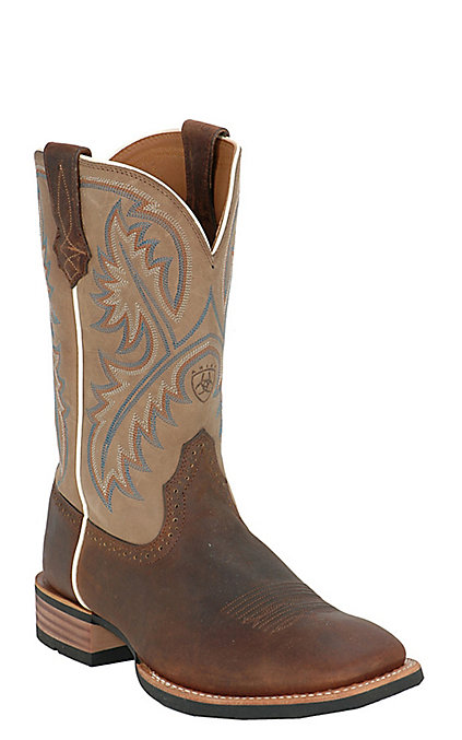 Ariat Quickdraw Men's Tumbled Bark Brown & Beige Wide Square Toe Western  Boots