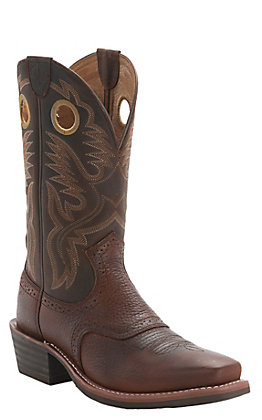 Ariat Men's Heritage Roughstock Oiled Brown Rowdy Square Toe Western Boots