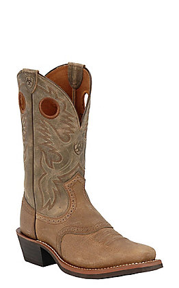 Ariat Men's Heritage Roughstock Earth and Brown Bomber Square Toe Western Boots
