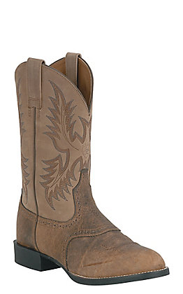 Ariat Men's Tumble Brown and Beige Heritage Stockman Boots