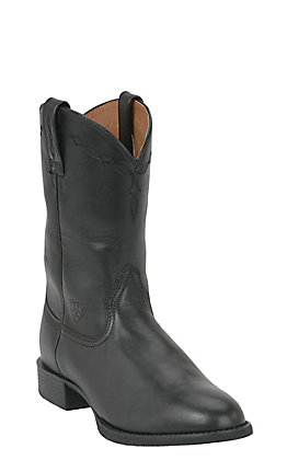 Ariat Men's Black Heritage Leather Roper Boots