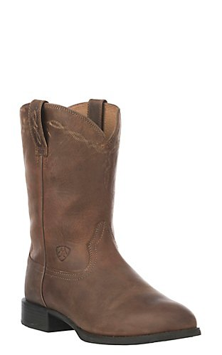 Ariat Men's Distressed Brown Heritage Leather Roper Boots | Cavender's