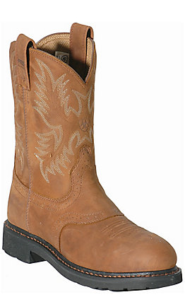 Ariat Sierra Saddle Men's Aged Bark Round Steel Toe Work Boots