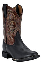 Ariat Heritage Horseman Men's Black Deertan with Bloodstone Western Boots