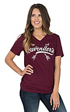 Cavender's Women's Maroon Arrow V-Neck Casual Knit Shirt