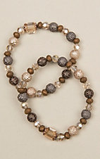 Ashlyn Rose Neutral Beaded Two Strand Bracelet