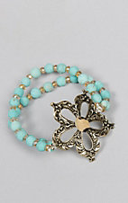 Ashlyn Rose Turquoise and Gold Beaded Bracelet with Leopard Flower