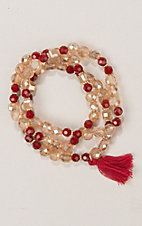 Ashlyn & Rose Red and Gold Beaded with Red Tassel Triple Strand Bracelet