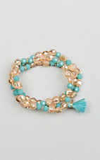 Ashlyn & Rose Turquoise and Gold Beaded with Turquoise Tassel Triple Strand Bracelet