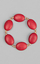 Country Chic Red Stone  Stretch Bracelet