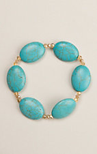 Country Chic Turquoise Stone Stretch Bracelet