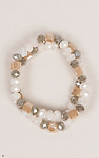 Ashlyn Rose Cream, Brown and Grey Crystal Beads Stretch Bracelet Set